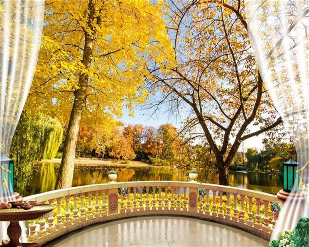 Beibehang Tree Shade Fall Foliage Balcony Background Home Decoration ...