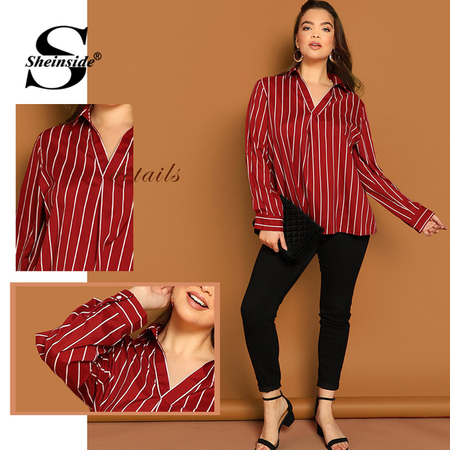 Sheinside Plus Size V Neck Striped Blouse Women Long Sleeve Top 2019 Spring Fashion Ladies Long Tops Burgundy Casual Blouses 5