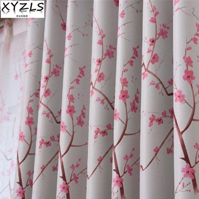 XYZLS Neue Romantische Rustikale Kirschbluten Cortinas Tull Vorhang Und Blackout Vorhange Fenster Behandlung Fur Schlafzimmer Wohnzimmer