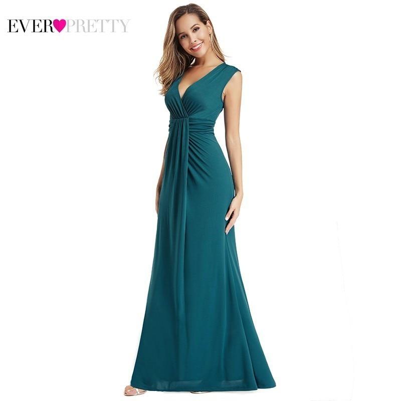 Elegant Mermaid Prom Dresses Long Ever Pretty Ruffles Sleeveless V-Neck Teal Sexy Party Gala Dresses Mezuniyet Elbiseleri 2020