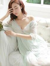 Summer Sleep Lounge Lady Sleepwear Deep V-neck Long Nightdress Women White Pink Nightgown Modal Lace Night dress Plus Size