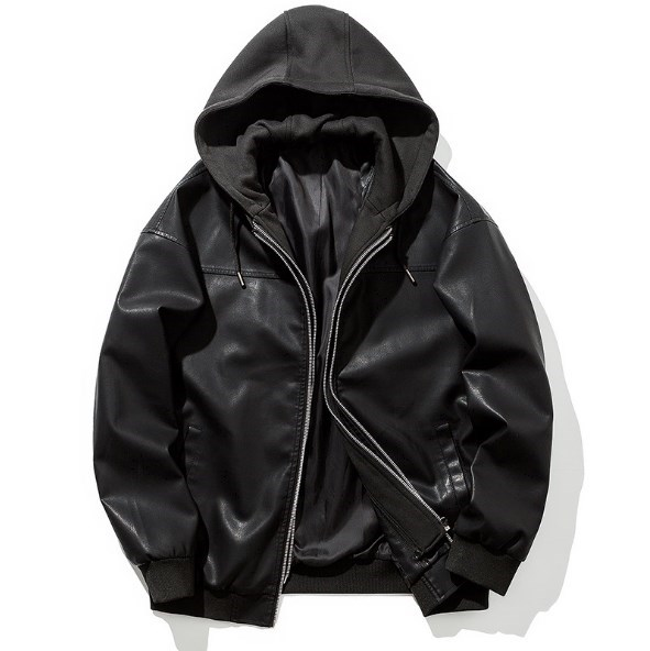 Faux Cuir En Moto À De Luxe Noir Capuche Pu Biker Hommes Designer Veste Manteau Avec xfIqz8