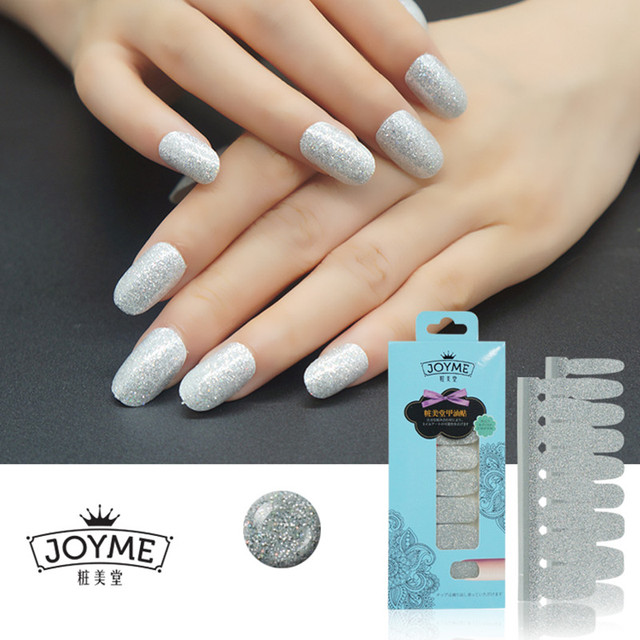 Fashion Bling Nail Polish Strip Silver Glitter Nail Sticker Nail Art ...