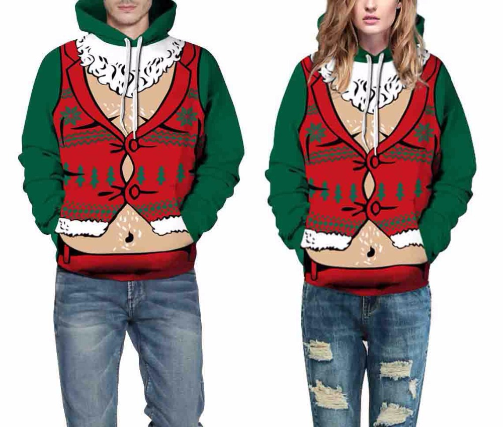 Leezeshaw Spring and Autumn Fashion Christmas Digital Printing Man / Woman Long Sleeve Hoodie Hat With Drawstring For Steetwear