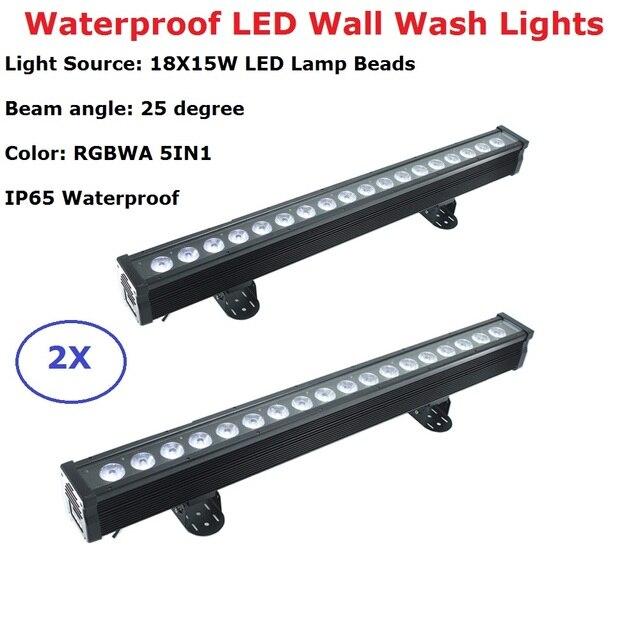 2Pcs 18X15W Outdoor LED Wall Washer Lights RGBWA 5IN1 LED Bar Wall Washer Lights DMX512 Control LED Stage Waterproof Bar Lights