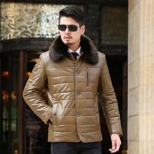 The new winter 2016 Men's leather heavy hair detachable fashion leisure Thickening eiderdown cotton Warm coat plus-size 9XL