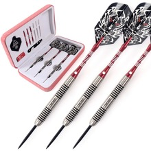 CUESOUL Tungsten Steel Tip Darts- 18 Grams 90% Tungsten Dart Barrel with Pink Dart Case