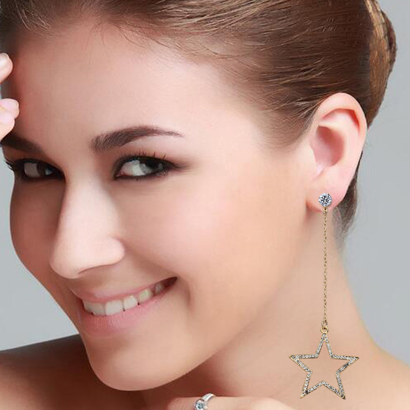 WENUSHOUSHI hollow out stars long dangle earrings for women full rhinestone crystal alloy nickel free gold-color wedding jewelry