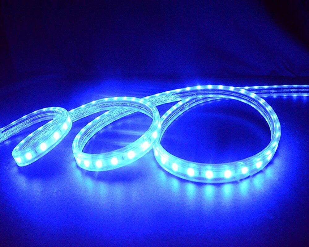 5050 Flexible LED bande lumière AC220V 60 LED s/m étanche IP67 LED bande bleu LED couleur avec prise de courant ue 25 M