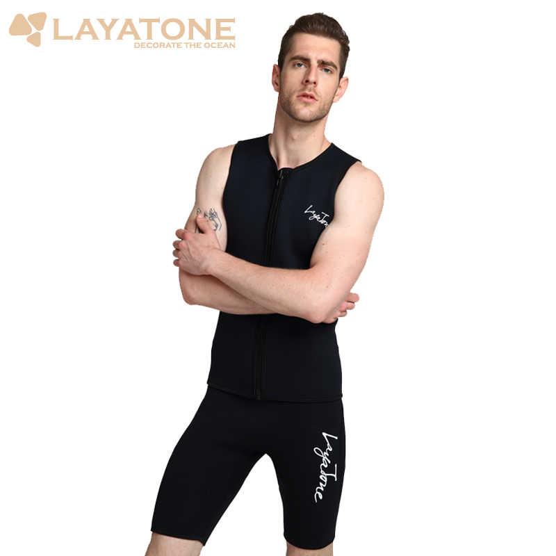 LayaTone 3MM neopren Wetsuits kısa erkekler dalış Shorty pantolon sörf dalış yüzme kürek yelken Wetsuit kısa mayo