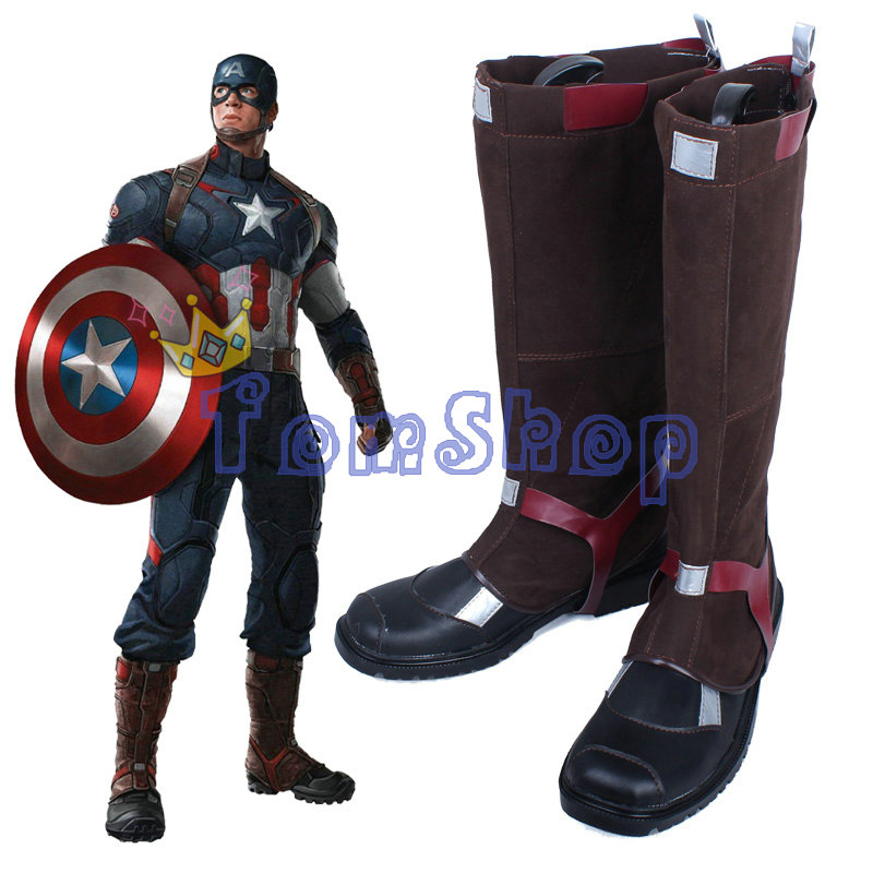 avengers captain america cosplay leather boots shoes super heroes halloween costumes custom made