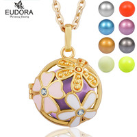 Gold Plated Guardian Angel Caller Jewelry Floral Mexcian Bola Pendant Eudora Harmony Ball Chain Necklace Pregnant