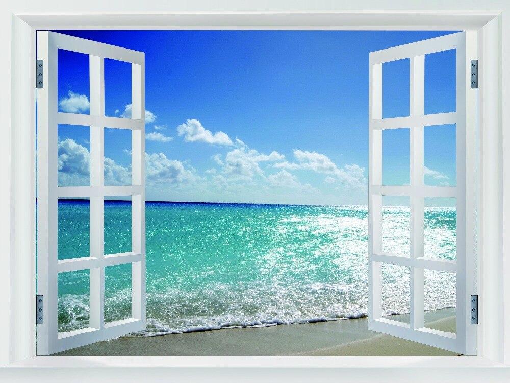 Azul cielo mar paisaje ventanas falsas arte enorme de for Disegno di finestra aperta