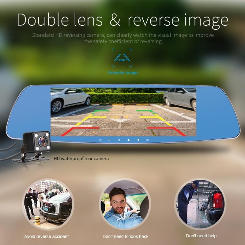 7 inch HD Dual Lens Car DVR Dash Cam Front and Rear Mirror Camera Video Recorder