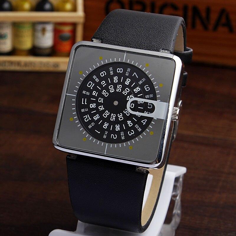 Fashion Elegant Turntable Big Dial Digital Men Women Analog Leather Strap Quartz Wrist Watches Men Gentleman Mens Business Gifts