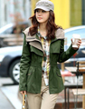 2017 New women's army green Coat Windbreaker Fashion Women Trench Coat Outerwear Long Coat