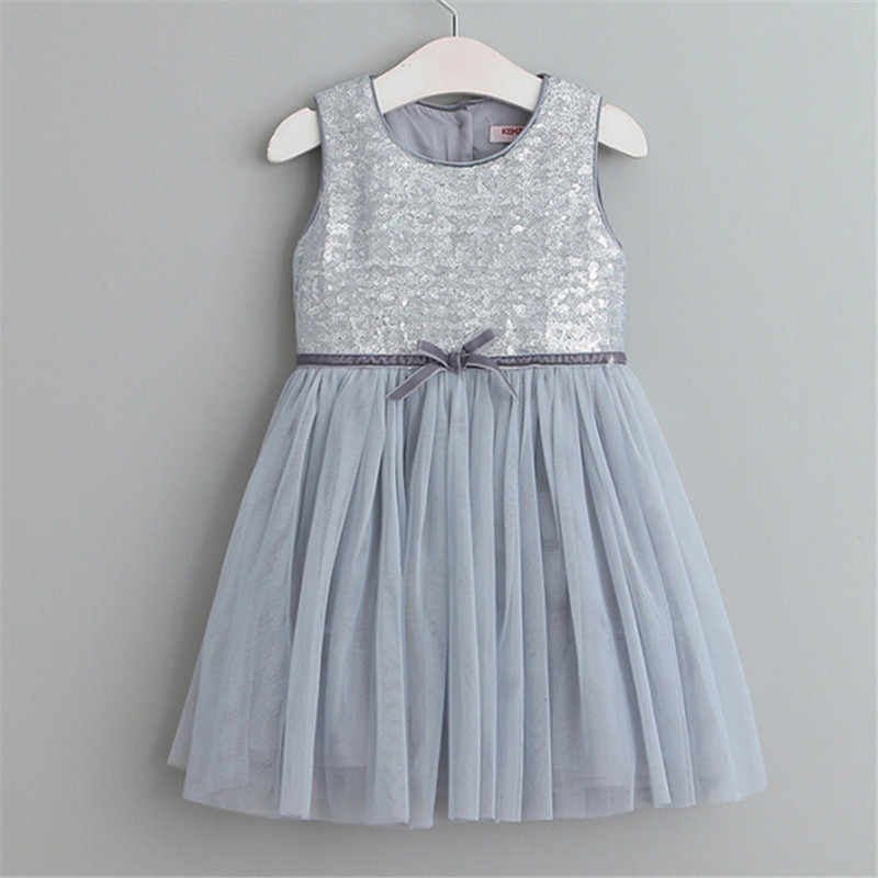 Girls Princess font b Dress b font Silver Pink Two Colors for Choices Children Summer Sleeveless
