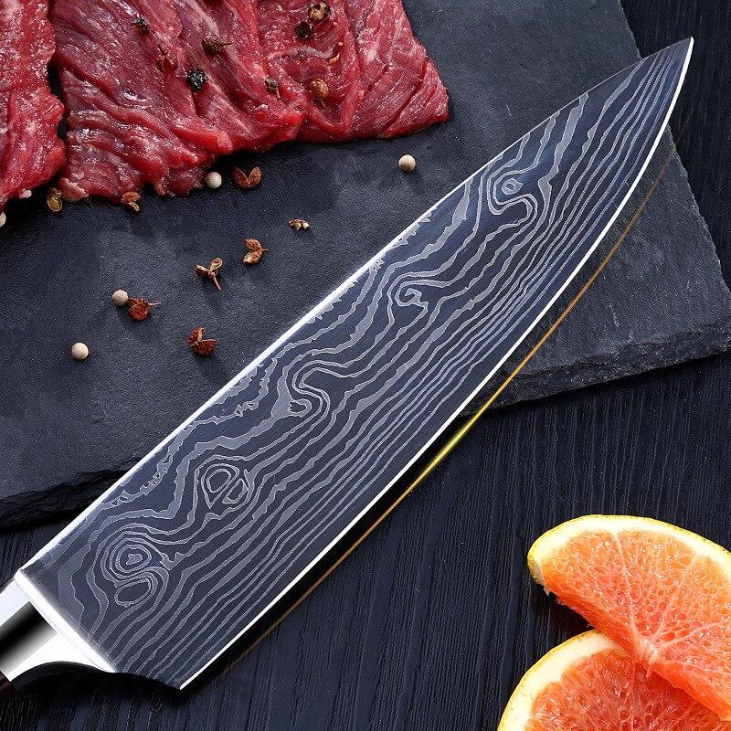 Multi-Fonction Allemand Cuisine Couteau À Trancher Couteau Western Chef Sashimi Chef Couteau Damas Cuisine En Acier Inoxydable