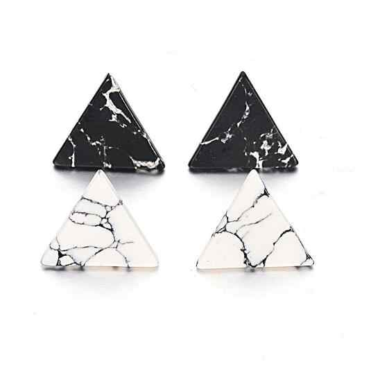 2cm New 2017 Trendy Fashion Punk Man-Made Faux White Black Geometric Simple Marble Stone Triangle Stud Earrings Gift for Women