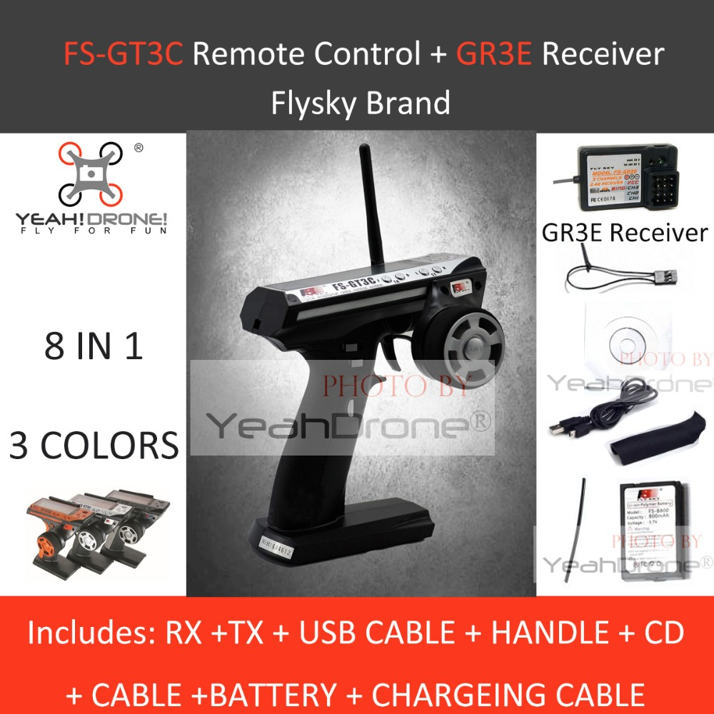 Flysky FS-GT3C 2.4G 3CH Transmitter & GR3E Receiver Silver For RC Car Boat Control brand new flysky fs ctm01 temperature collection module for ia6b ia10 suitable for rc car boat aircraft quadcopters