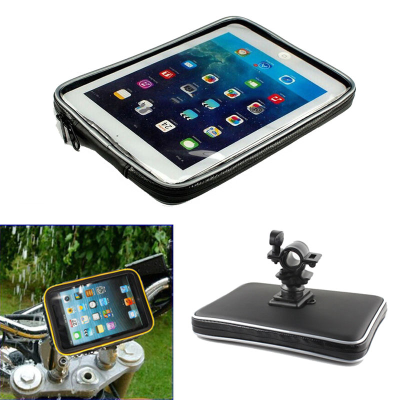 Bicycle Motor Bike Motorcycle Handle Bar Tablet Holder Waterproof Case Bag  for iPad Mini 4 3 2 For Samsung galaxy Tab 4 3 2 7'' roswheel mtb bike bag 10l full waterproof bicycle saddle bag mountain bike rear seat bag cycling tail bag bicycle accessories