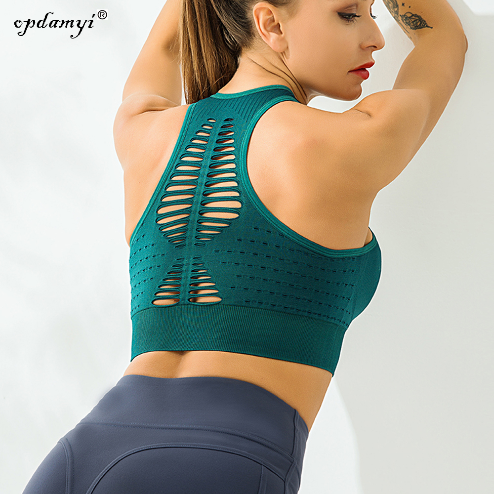Women's  Removable Padded Sports Bras High Impact Support Fitness Racerback Impact Yoga Bra Athletic  Workout Tops