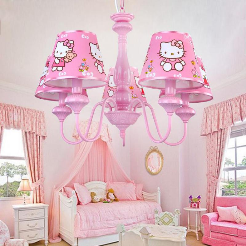 Wedding Led Pink Lampshade Chandelier Suspension Light For Girl Kid's Bedroom Modern Hello Kitty Hanging Light Fixtures Lustres
