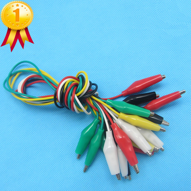 1set 10pcs Double ended Test Leads Alligator Crocodile Roach Clip ...