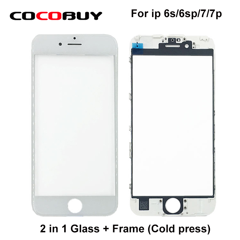 10 Pcs/Lot Free shipping Front Screen Touch Panel Glass with Frame for iPhone 6S 6SP 7 7P Replacement pws5610s s 5 7 inch hitech hmi touch screen panel pws5610s s human machine interface new in box fast shipping