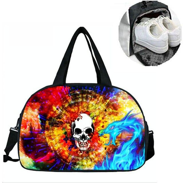 75aeb47acbda Halloween Style Gym Sports Bags Terror Skull Fitness Handbag Super Large  Capacity Outdoor Skiing Camping Luggage