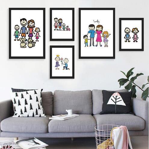 Us 499 13 Offśmieszne Naklejki ścienne Artwork Pastel Duże Rodziny Płótnie Drukuje Plakat Home Decor Zdjęcia ścienny Do Salonu Nie Rama W śmieszne