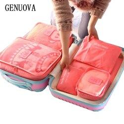 6 قطع مجموعة واحدة الأمتعة النايلون التعبئة مكعب السفر أكياس نظام دائم كبير قدرة للجنسين الملابس فرز تنظيم حقيبة
