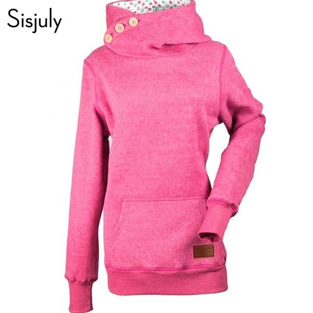 Sisjuly women hoodies slim mid-length button turtleneck long sleeve pocket plus size fashion skinny warm hooded sweatershirts