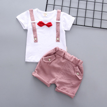 Newborn Summer baby boys clothes set new style t-shirt + shorts 2pcs newborn boy gentleman clothing set 1