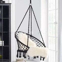 Estilo nórdico ronda hamaca al aire libre interior dormitorio adulto niño colgando colgante de seguridad y silla hamaca