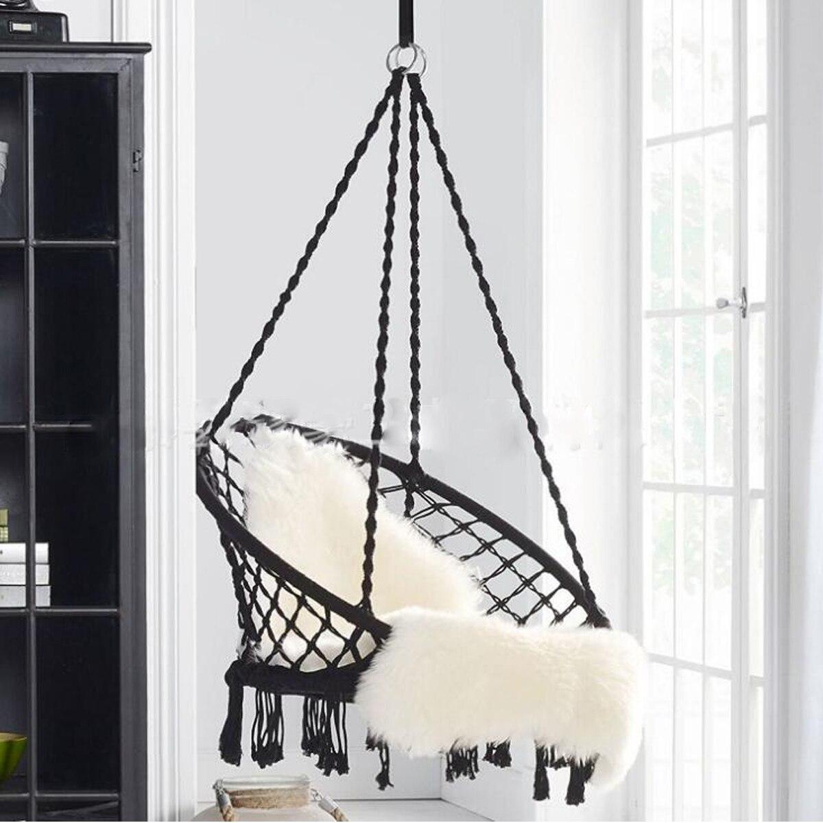 Style nordique hamac rond extérieur intérieur dortoir chambre pour enfant adulte oscillant suspendu unique chaise de sécurité hamac