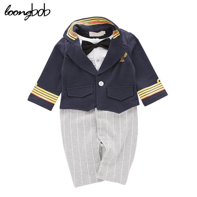 Baby Boys Military Captain Style Clothes Infant Boy Handsome Costume Toddler Gentlemen Striped Romper Red Dark Blue Outwear gentlemen style striped baby boy romper playsuit