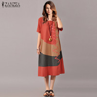 ZANZEA Hot Sale Women Splice Dress 2017 Summer Ladies Short Sleeve Vintage Sexy Casual Loose Dresses