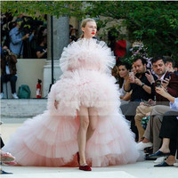 2019 New Arrival Light Pink High Low Evening Party Dresses Elegant Off Shoulder Puffy Adult Prom Gown Ruffle Tiered Tulle Custom