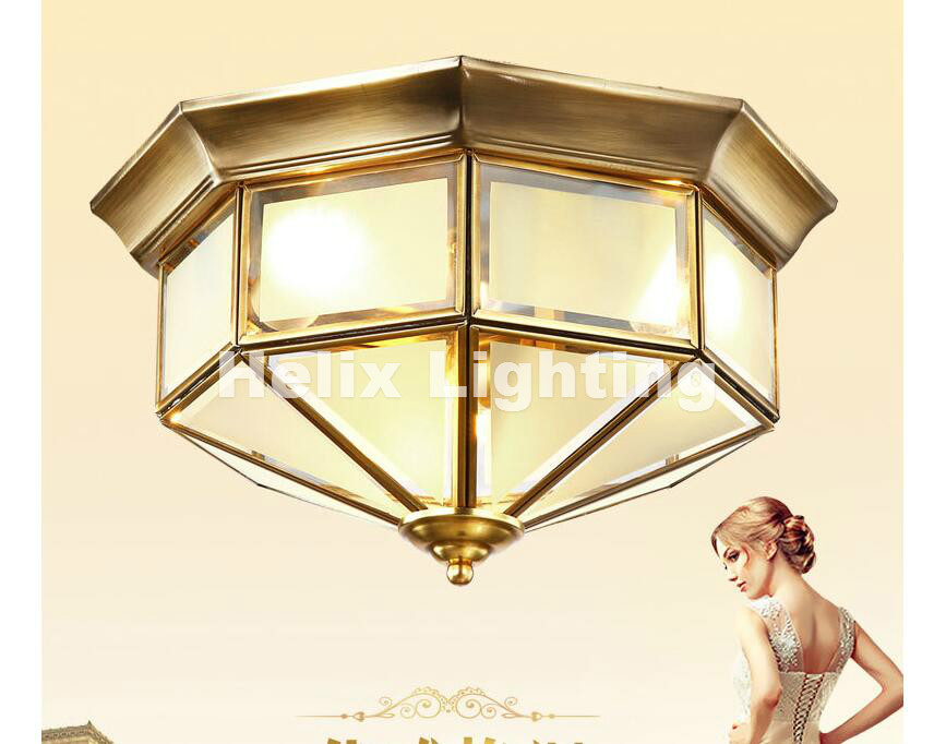 Freies Verschiffen Messing Glas Plafonnier E27 LED Deckenleuchten Hause Beleuchtung Wohnzimmer Licht Vintage Deckenleuchte Lampara