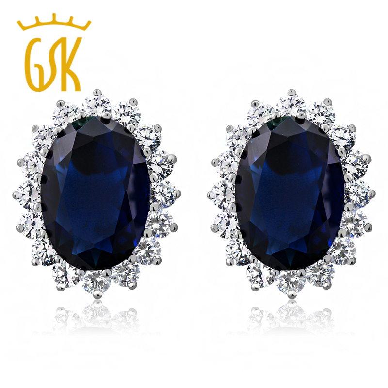 GemStoneKing Princess Diana Earrings 15.00 Ct Oval Blue Simulated Sapphire And Zirconia 925 Sterling Silver Earrings