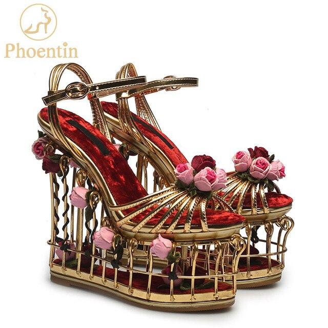 Phoentin Sandalias doradas con flores para mujer, zapatos femeninos de tacón superalto, de plataforma de 16cm, para boda, con correa en el tobillo, hebilla de fiesta, FT337