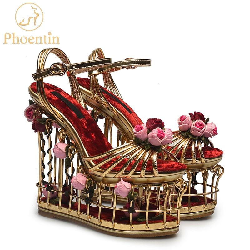 Phoentin gold flower sandals women super high heel 16cm platform wedding  shoes ankle strap buckle luxury a1dd7577428d