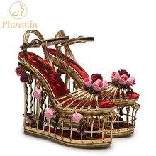 Женские сандалии Phoentin с золотистыми цветами, на очень высоком каблуке 16 см, свадебные туфли на платформе, роскошные женские вечерние туфли с ремешком на щиколотке и пряжкой FT337