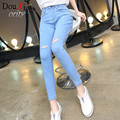 Spring women jeans knee hole Black Blue jeans female foot High waist stretch pants nine points women