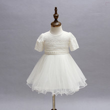 baby girl 1 year birthday baptism dress party Comfortable  beautiful infant princess dress  lace flower red/white baby dresses