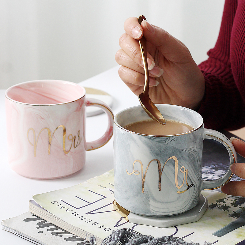 European Gold stamping ceramic mark cup lovers breakfast coffee and milk tea Mr Ms letter Men women marble Mug