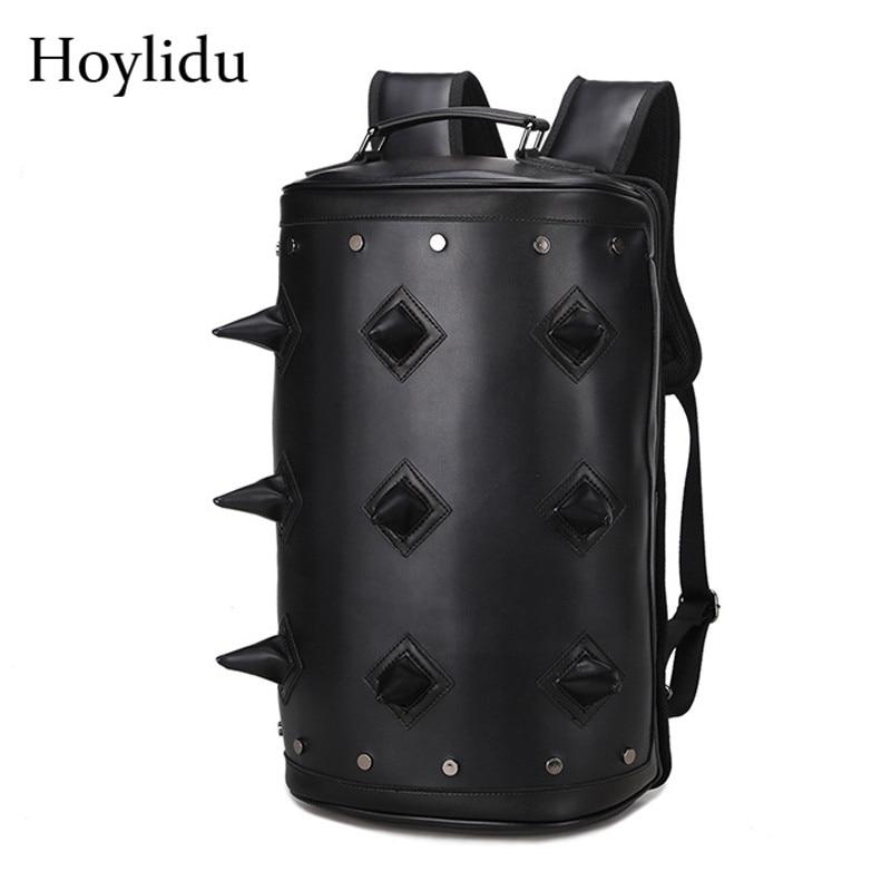Imperméable à l'eau PU cuir hérisson sac à dos hommes sac à bandoulière en forme de baril voyage sacs à dos d'ordinateur portable mode mâle Punk Rivet sac à dos