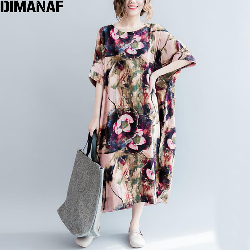 Žene Pamuk i Posteljina haljina Velike veličine Cvjetni uzorak Ispis T-Shirt Ljeto Moda Ležerne Ženske Tops Long Vintage Tshirt Haljine  t