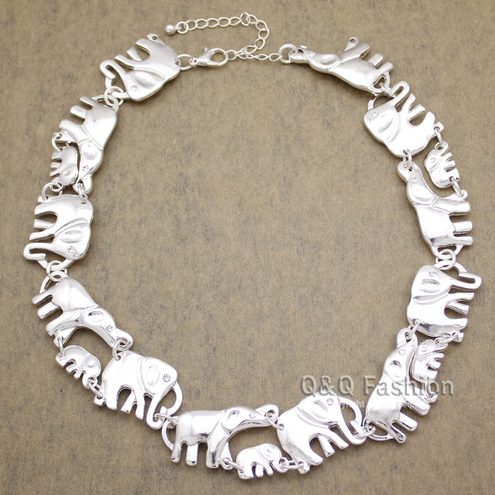 Elephant /& baby Ganesh link silver statement collar necklace christmas birthday